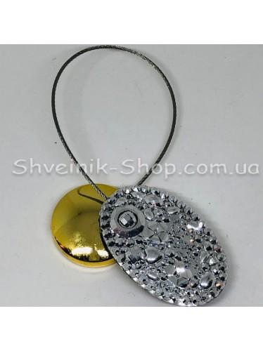 Магнит на тросе Овал Цвет : Серебро  цена за 1 штуку