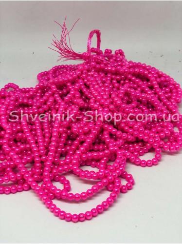 Жемчуг Керамика на нитке Размер 4мм Цвет Ярко Розовый  в упаковке 1 кг 20 ниток