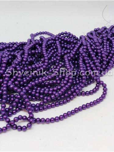 Жемчуг Керамика на нитке Размер 4мм Цвет Фиолетовый в упаковке 1 кг 20 ниток