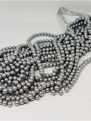 Жемчуг Керамика на нитке Размер 10мм Цвет Светло серый в упаковке 1 кг 10ниток