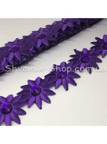 Тесьма Клеевая Цветок Ширина 7 см Цвет Фиолетовый в упаковке 4,8 метра