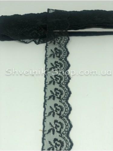 кружево органза ширина 4 см Цвет: Черный  9,2 метров цена за упаковку