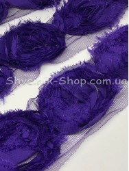 Тесьма декоративная роза на сетке ширина орнамента 8 см в упаковке 9,2 м Цвет: фиолетовый