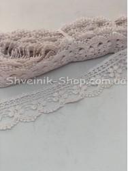 Кружево вязаное  цвет Белое ширина 4 см в упаковке 9,2метра цена за упаковку