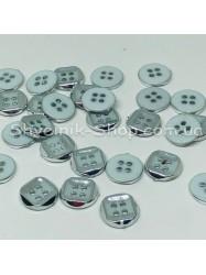 Пуговица Пластиковая на четыри дырки Размер 10мм Цвет : Белое + Серебро в упаковке 1000 штук