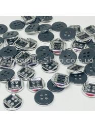 Пуговица Пластиковая на четыри дырки Размер 10мм Цвет : Черное + Серебро в упаковке 1000 штук
