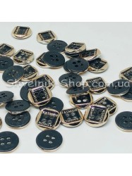 Пуговица Пластиковая на четыри дырки Размер 10мм Цвет : Черное + Золото в упаковке 1000 штук