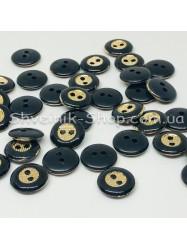 Пуговица Пластиковая на две дырки Размер 10мм Цвет : Черное + Золото в упаковке 1000 штук
