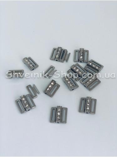Застежка с камнем на купальники металл цвет Серебро размер 1,5 см в упаковке 100 штук цена за упаковку