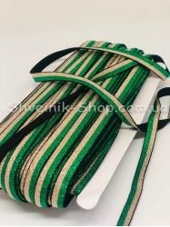 Резина для бретелек люрекс двухцветная зеленая с золотом ширина 1см в упаковке 46м цена за упаковку