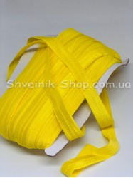 Бейка стрейч ширина 1,5 см (Блестяшая) цвет: Желтый яркий в упаковке 46 метров