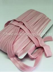 Бейка стрейч ширина 1,5 см (Блестяшая) цвет: Пудра в розовый в упаковке 46 метров