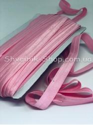 Бейка стрейч ширина 1,5 см (Блестяшая) цвет: Розовый в упаковке 46 метров