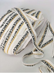 Бейка стрейч ширина 2см (Надпись) цвет: Белая+серебро  в упаковке 46 метров