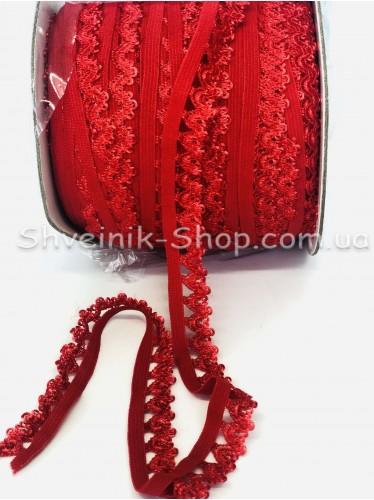 Резина зубчик ширина 1,5 см  цвет : Красный в упаковке 92 метра