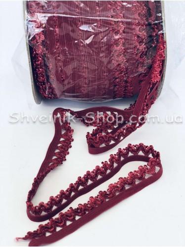 Резина зубчик ширина 1,5 см цвет : Бордо в упаковке 92 метра
