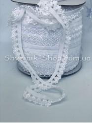 Резина зубчик ширина 1,5 см цвет : Белый в упаковке 92 метра