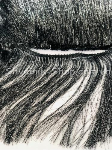 Бахрома Танцевальная (Порча Люрикс) Ширина 20 см в упаковке 9,20метров цвет: Черная + Серебро