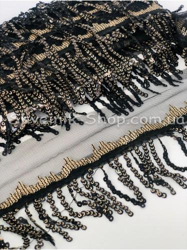 Бахрома Танцевальная Паетка Ширина 6 см в упаковке 9,2 метра цвет Черное + золото
