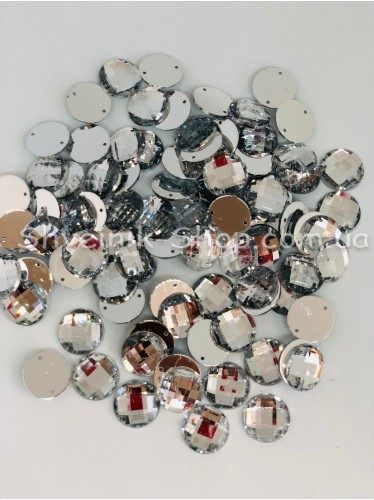 Камни Акрил пришивные Круглые (Граненые) Цвет : Кристал Размер :16 мм в упаковке 500 штук цена за упаковку