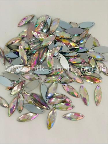 Камни Акрил пришивные Глазик (Граненые) Цвет : Кристал АВ (Галограмма) Размер :9*25 мм в упаковке 500 штук цена за упаковку