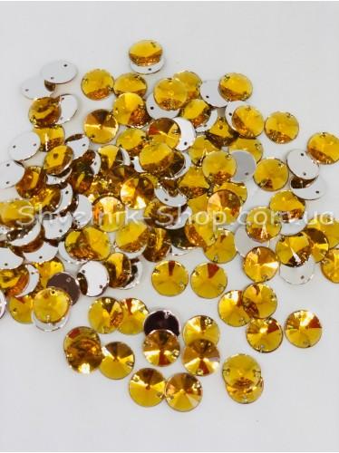 Камни Акрил пришивные Круглые (Граненые) Цвет : Золото  Размер :14 мм в упаковке 500 штук цена за упаковку