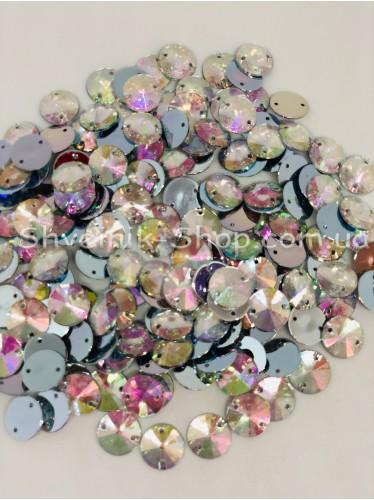 Камни Акрил пришивные Круглые (Граненые) Цвет : Кристал АВ ( Галограмма) Размер :14 мм в упаковке 500 штук цена за упаковку