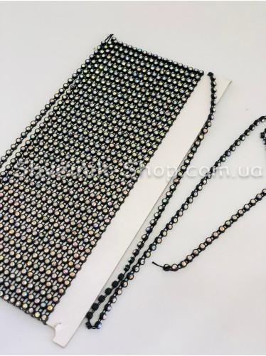 Камни на нитке в пластике 1 ряд (Стекло) Цвет Черный Камень Кристалл АВ в упаковке 9,2 метра ss16