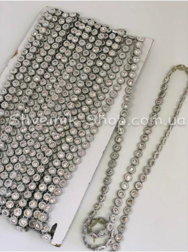 Камни на нитке в пластике 1 ряд Цвет Серебро Камень Кристалл в упаковке 9,2 метра диаметр 8мм