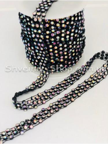Камни в пластике 3 ряда Размер 1,5 см ширина Цвет Черный Камень Кристалл АВ  в упаковке 9,2 Метра