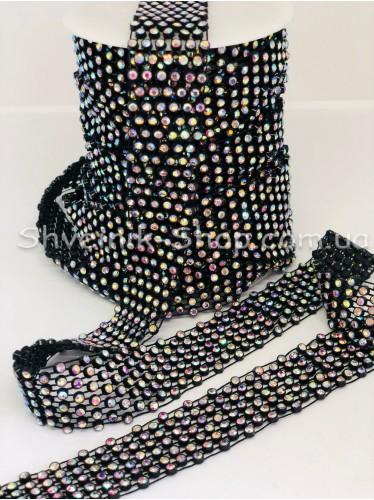 Камни в пластике 6 ряда Размер 2,5 см ширина Цвет Черный Камень Кристалл АВ   в упаковке 9,2 Метра