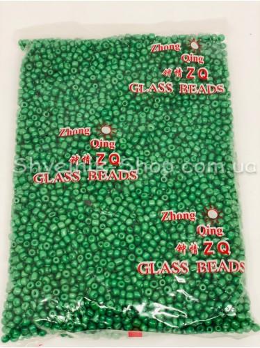 Бисер матовый размер 6 Цвет Зелёный в упаковке 450 грамм