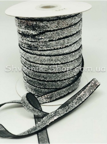 Велюр Бархат Люрекс Ширина 1 см  Цвет Серебро на чёрном 46 метров