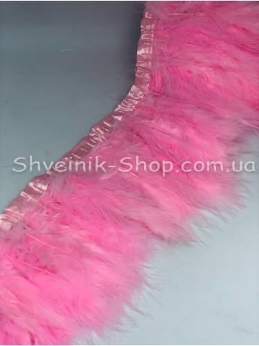 Перо на ленте цвет Розовый Длина : 16 см в упаковке 2 м