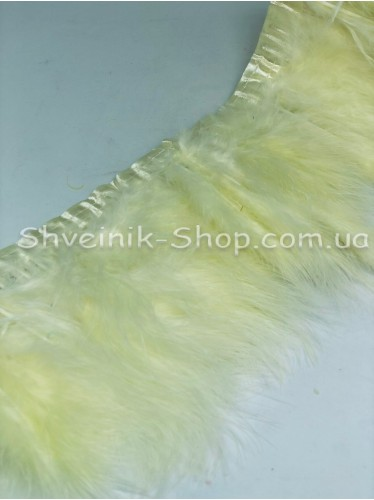 Перо на ленте цвет Молоко Длина : 16 см в упаковке 2 м