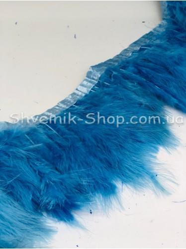 Перо на ленте цвет Голубой Длина : 16 см в упаковке 2 м