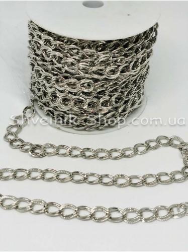 Цепь декоративная  Двойная Цвет Серебро звено 1*0,8 см в упаковке 15 м