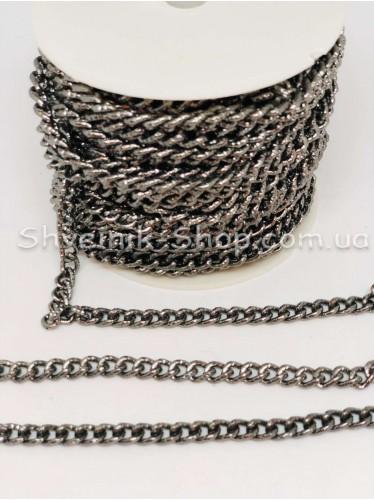 Цепь декоративная Звено :  9*5 мм  Цвет Темное серебро  в упаковке 15 м