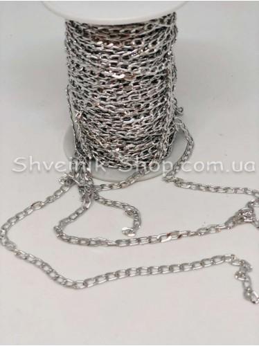 Цепь декоративная Звено :  5*3 мм  Цвет Серебро в упаковке 40 м