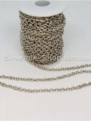 Цепь декоративная Звено :  5*5 мм  Цвет Серебро в упаковке 40 м