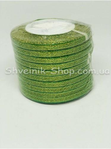 Лента порча (Люрекс) Размер :0,6 см Цвет Зеленая в упаковке 230 метров