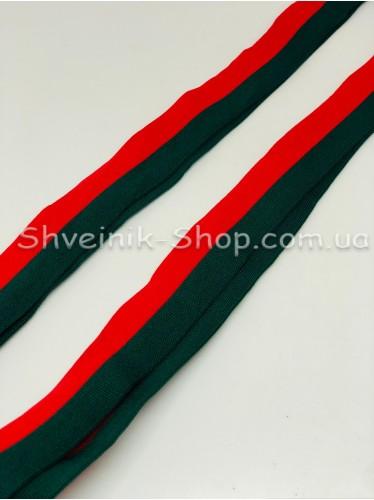 Лампас Трикотажный Размер : 3 см Цвет : Красный с Зеленым в упаковке 64 метра