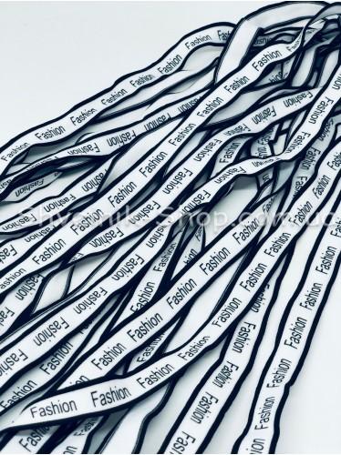 Лампас Трикотажный Размер : 2см Цвет : Белый с Черным Fashion в упаковке 64 метра