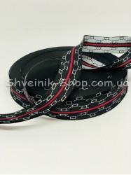 Тесьма Лампас Репс Размер 2,5 см Цвет : Черный  в упаковке 46 метров