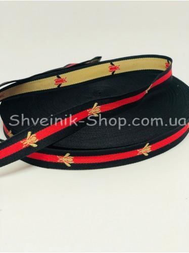 Тесьма Лампас Репс Муха Размер 2 см Цвет : Черная + Красная в упаковке 46 метров