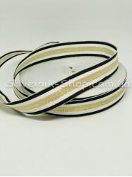 Тесьма Лампас Репс Размер 2,5 см Цвет : Синий+ Белый + Золото в упаковке 46 метров