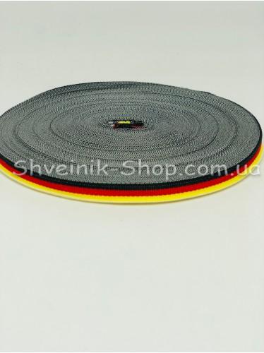 Тесьма Лампас Репс Размер 1 см Цвет : Черный +Красный + Желтый в упаковке 46 метров