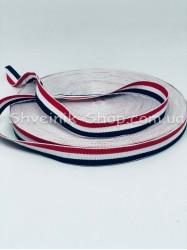 Тесьма Лампас Репс Размер 1,5 см Цвет : Красная + Белая + Синяя  в упаковке 46 метров
