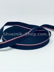 Тесьма Лампас Репс Размер 1,5 см Цвет : Синяя + красная + белая   в упаковке 46 метров