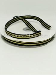 Тесьма Лампас Репс Размер 1 см Цвет : Черная + Золото  в упаковке 46 метров
